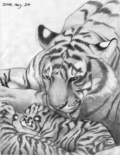 Tiger mother B&W
