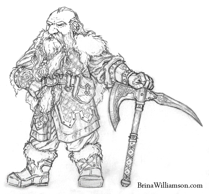 standing dwarf warrior - Hobbit Dwarves Coloring Pages