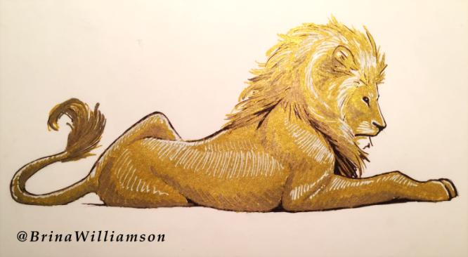 BW, gold lion